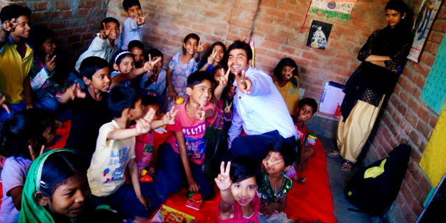 Children and Volunteers at Promak Foundation Lucknow
