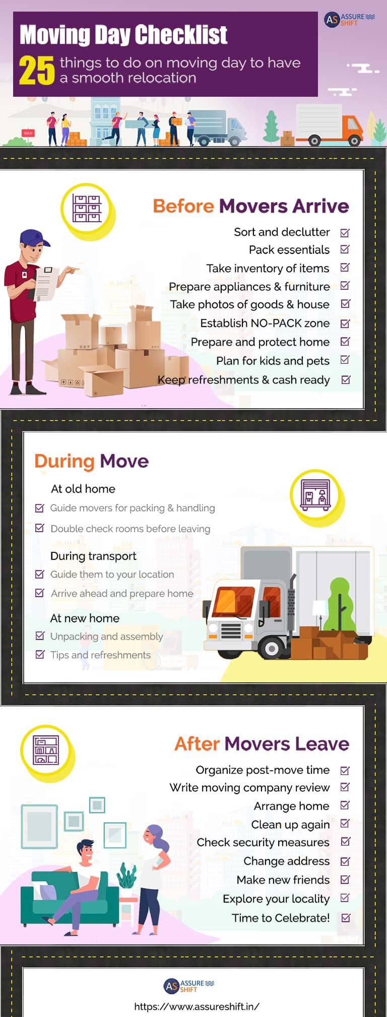 Moving day checklist infography